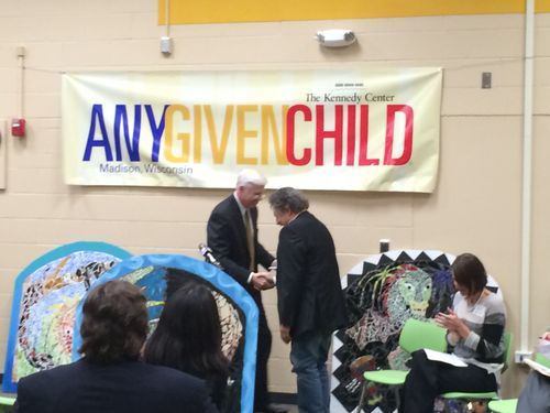 Any Given Child Press Conf Mayor shaking hands
